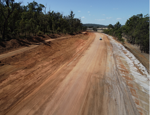 Construction of the new alignment of Coalfields Highway at Bowelling Curves intersection, Collie, WA